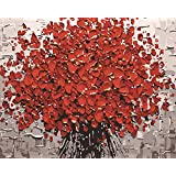 Komking DIY Oil Painting Paint by Numbers for Adults Beginner, Paint by Number Kit Painting on Canvas 16x20inch - Red Flower Pattern