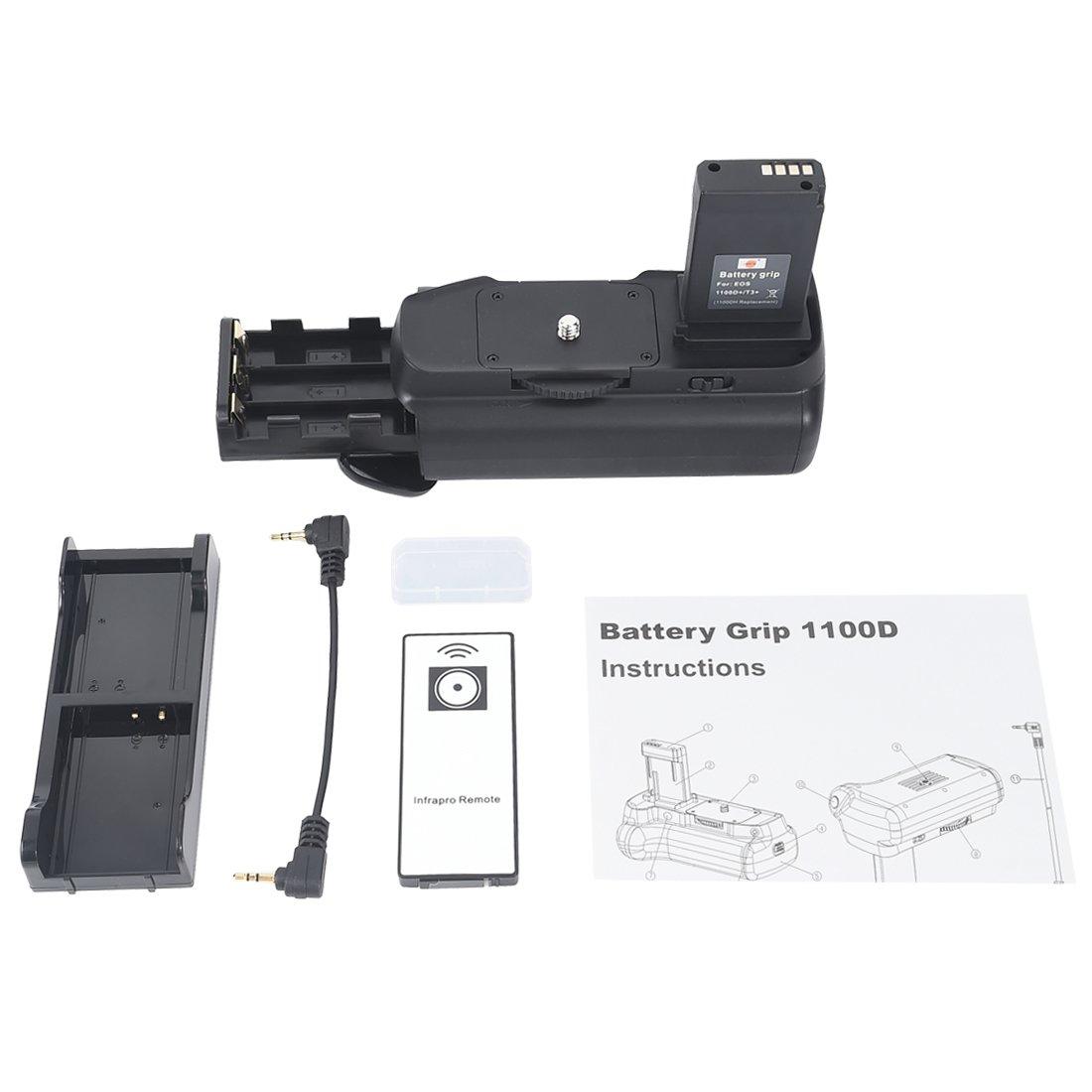 DSTE/® Pro IR Remote 1100D Vertical Battery Grip 2x LP-E10 Battery for Canon EOS 1100D Rebel T3 SLR Digital Camera
