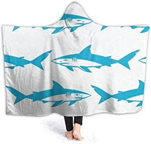 EJudge Fleece Wearable Hooded Blanket Watercolor Blue Shark Soft Cozy Fuzzy Plush Kids Blankets Hoodie Microfiber Throw Wrap Cloak Cape for Couch Sofa Chair Fall Nap Travel Kids/Baby