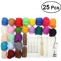 BESTOMZ Kit Agujas de Fieltro 25 Colores Hilo