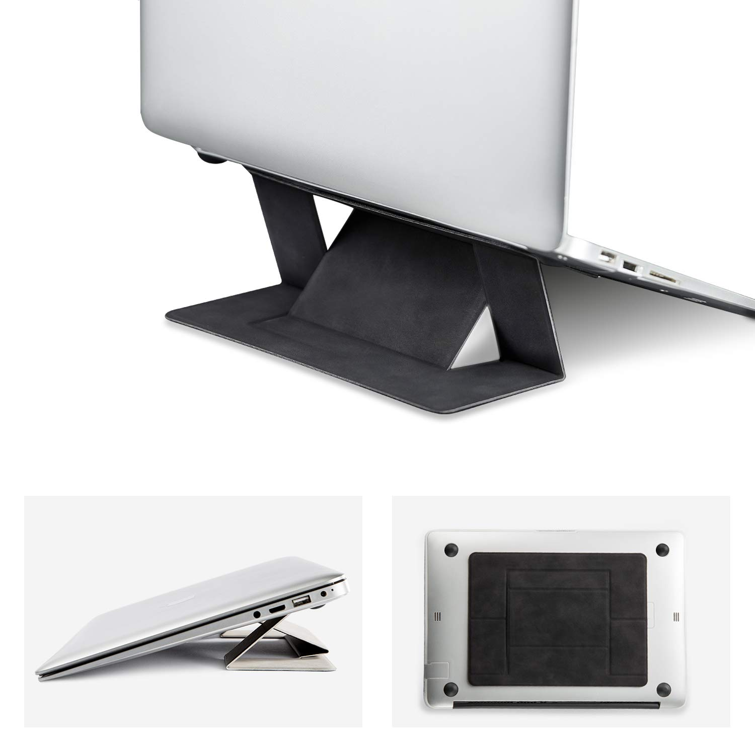 Invisible Laptop Stand Portable-RUCACIO Adhesive Laptop Kickstand Lightweight Stand Foldable Seamless Appendage of Computer Desktop Stand Holder Anti-Slide Fits Mac Book,Laptops,iPad, Tablet(Black)