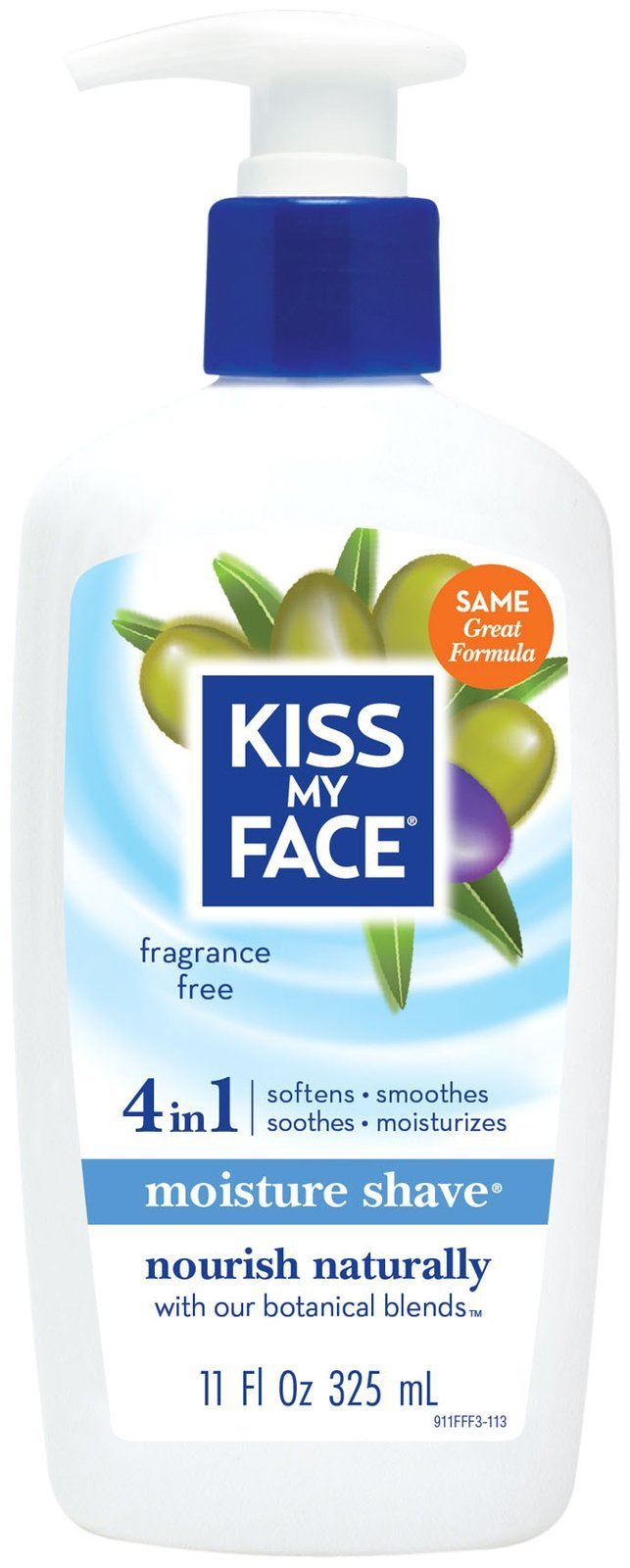 Kiss My Face Fragrance Free Moisture Shave, 11 fl oz