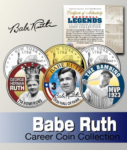 Baseball Legend BABE RUTH NY Statehood Quarter Colorized 3-Coin Set - Set Coin Ruth Babe