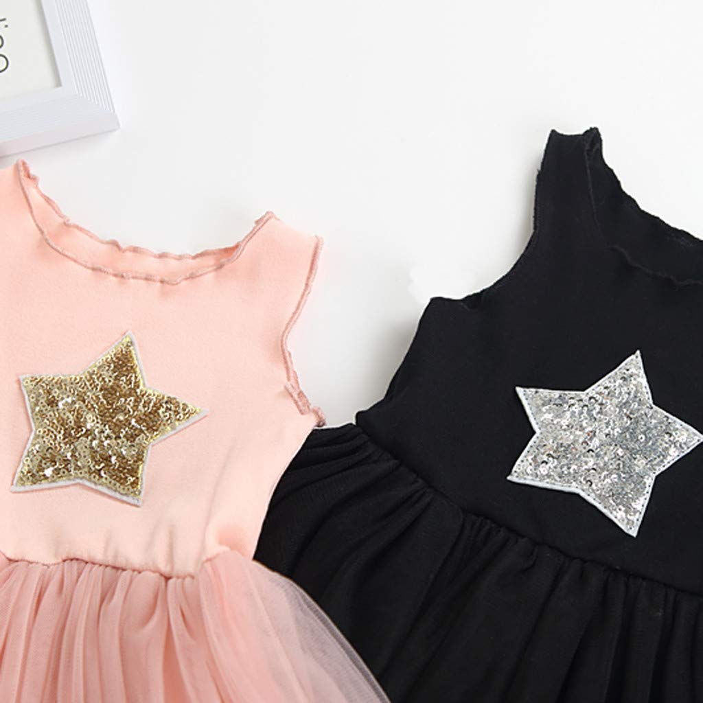 Tootu Toddler Kids Baby Girl Sleeveless Star Sequins Princess Lace Dress Clothes