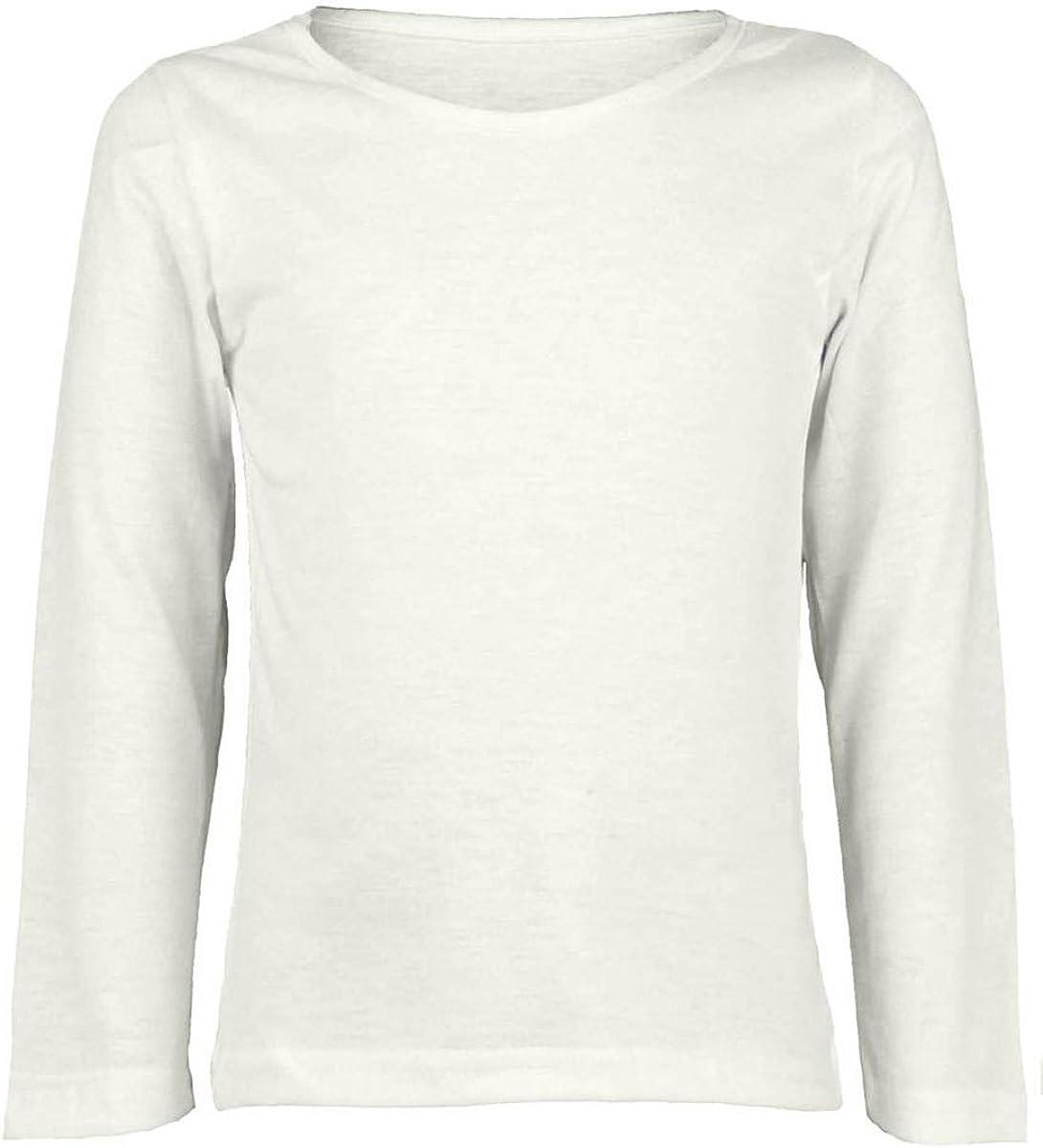 Kids Boys Girls Basic Crew Neck Classic Quality Plain Cotton Long Sleeve T-Shirt Tops Uniform Tee ref:3215
