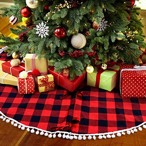 (PartyTalk 48 Inch Christmas Tree Skirt Red and Black Buffalo Plaid Tree Skirt with Pom Pom Trim for Holiday Christmas Decorations, Double Layers Xmas Tree Skirt)