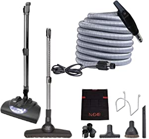 Nadair Central Vacuum kit, with 35ft High-Voltage Hose with Pigtail, On-Off Switch at The Handle Electrical 5 adjustable heights carpet beater, 12' floor brush and accessories, 35 ft, Grey