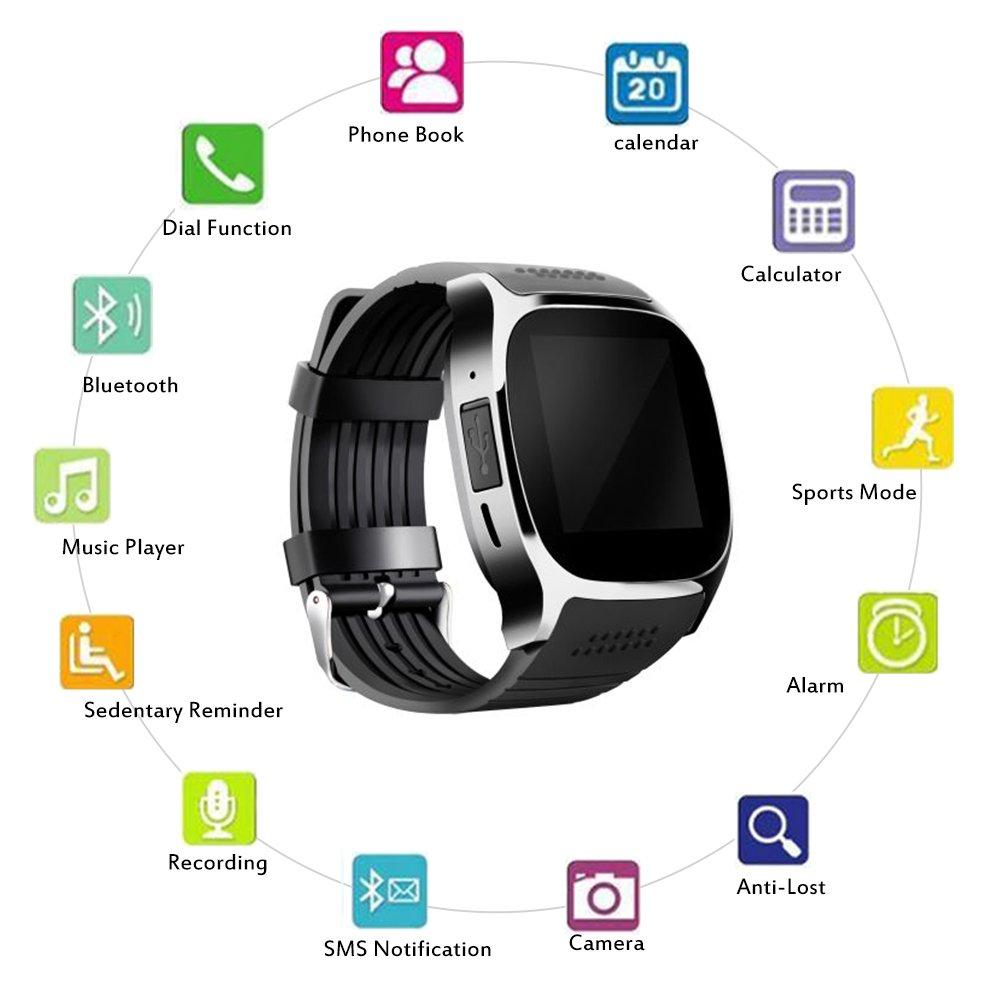 Bluetooth Smart reloj negro, TOP-MAX T8 M Fitness Tracker Smartwatch con monitor de frecuencia cardíaca para Android y iOS smartphone: Amazon.es: ...