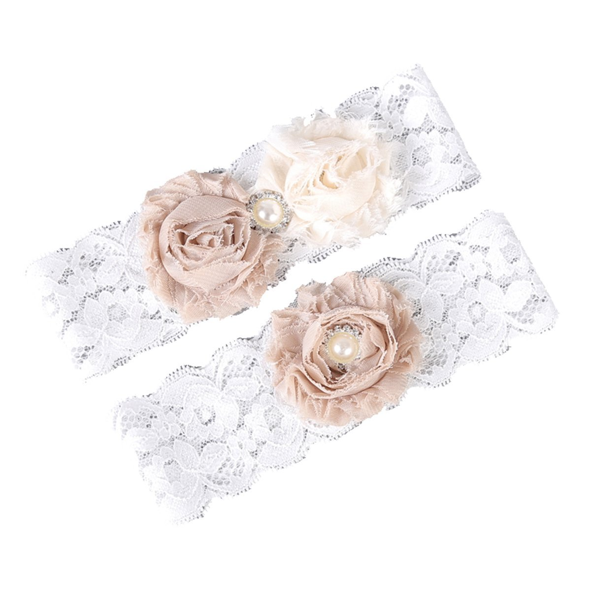 White Lace Wedding Bridal Leg Garter Set Vintage Elastic