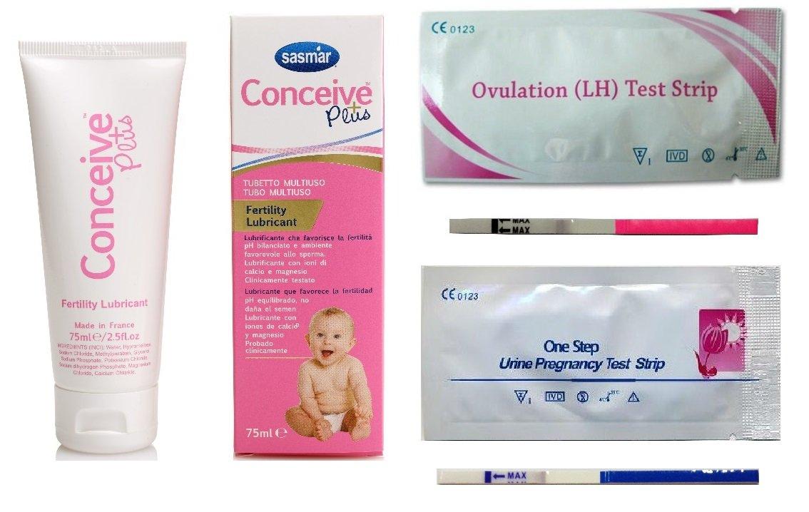 Sasmar - Conceive Plus - Tubo multiusos de 75 ml + 30 test de ovulación + 6 test de embarazo: Amazon.es: Bebé