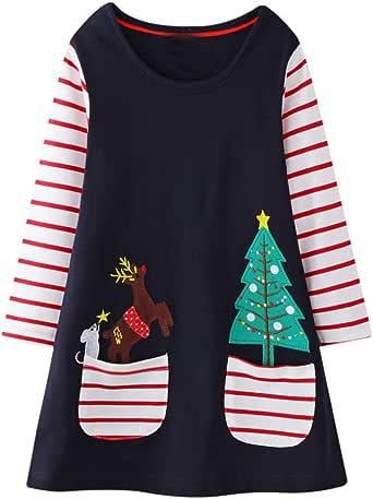 Vestidos T-Shirt Manga Larga Casual Niñas Vestidos Navidad Niñas ...