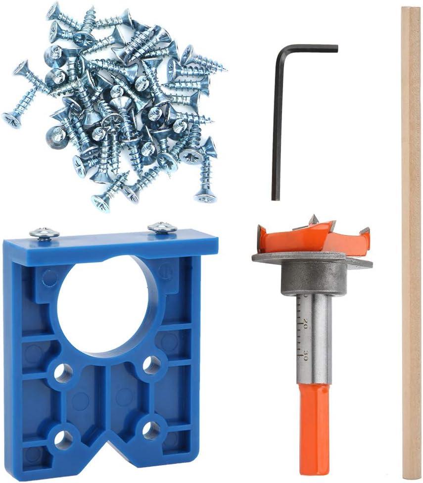 Concealed Hinge Boring Jig with 35mm Forstner Bit Kit, Adjustable Hinge Drilling Jig Locator Furniture Door Cabinets Face Frame Hinges for Wood ABS Plastic