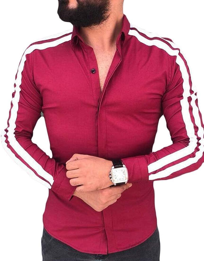 Hokny TD Men Simple Button Down Dress Shirt Casual Slim Color Block Shirt