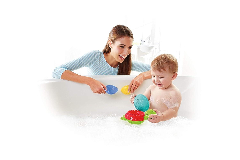 Fisher-Price Ma Tortue pour Le Bain jouet flottant pour permettre à bébé de s'amuser à empiler, filtrer et verser de l'eau, dès 6 mois, DHW16