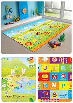 MyLine Baby Play Mat, Foam Floor Gym Rug, Non-Toxic, Non-Slip, Reversible, Waterproof, Great for Children, Toddler and Infant Super Large, 78.7 x70.9 , Yellow