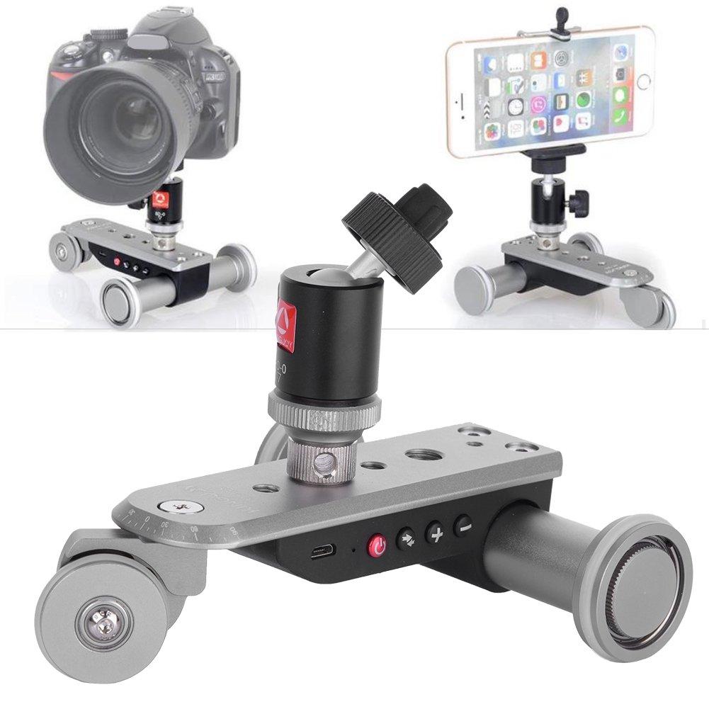 V BESTLIFE Portable USB Rechargeable Battery 3 Wheel Car Video Dolly Slider Skater Metal Ball Compatible with DLSR Cameras, Digital Cameras, Action Cameras. by V BESTLIFE