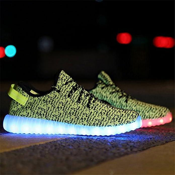 Men's Shoes Couple Luminous Light Mesh Shoes Lace-up Led Light Casual Shoes Colorful Flash Shoes Breathable Sneaker Usb Srecharge Mar 23