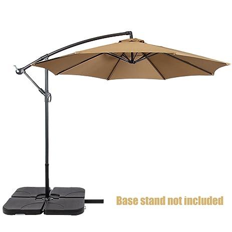 Superb Patio Umbrella Offset 10u0027 Waterproof Polyester Heavy Duty Fabric Outdoor  Market Umbrella New Beige