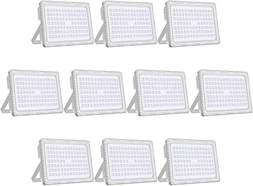 Viugreum 10 Pack LED Flood Light Outdoor, 250W 1500W Halogen Equiv , Thinner and Lighter Design, Waterproof IP65, 1000LM, Daylight White 6000-6500K , Super Bright Security Floodlight