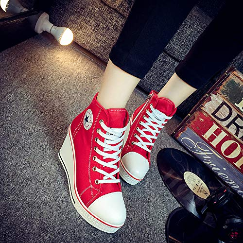Loisir Toile en à Chaussures Femme Chaussures de Basket Compensées pour Qimaoo Talon Montantes qRvtxgwg