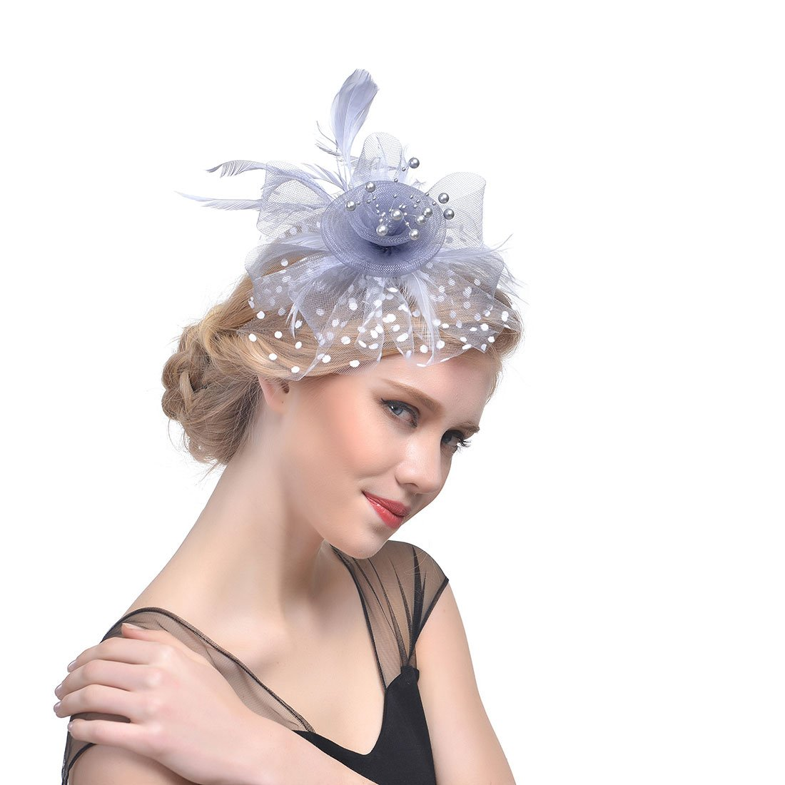 Women's Fascinators Hat Flower Mesh Ribbons Headband Forked Clip Wedding Headwear