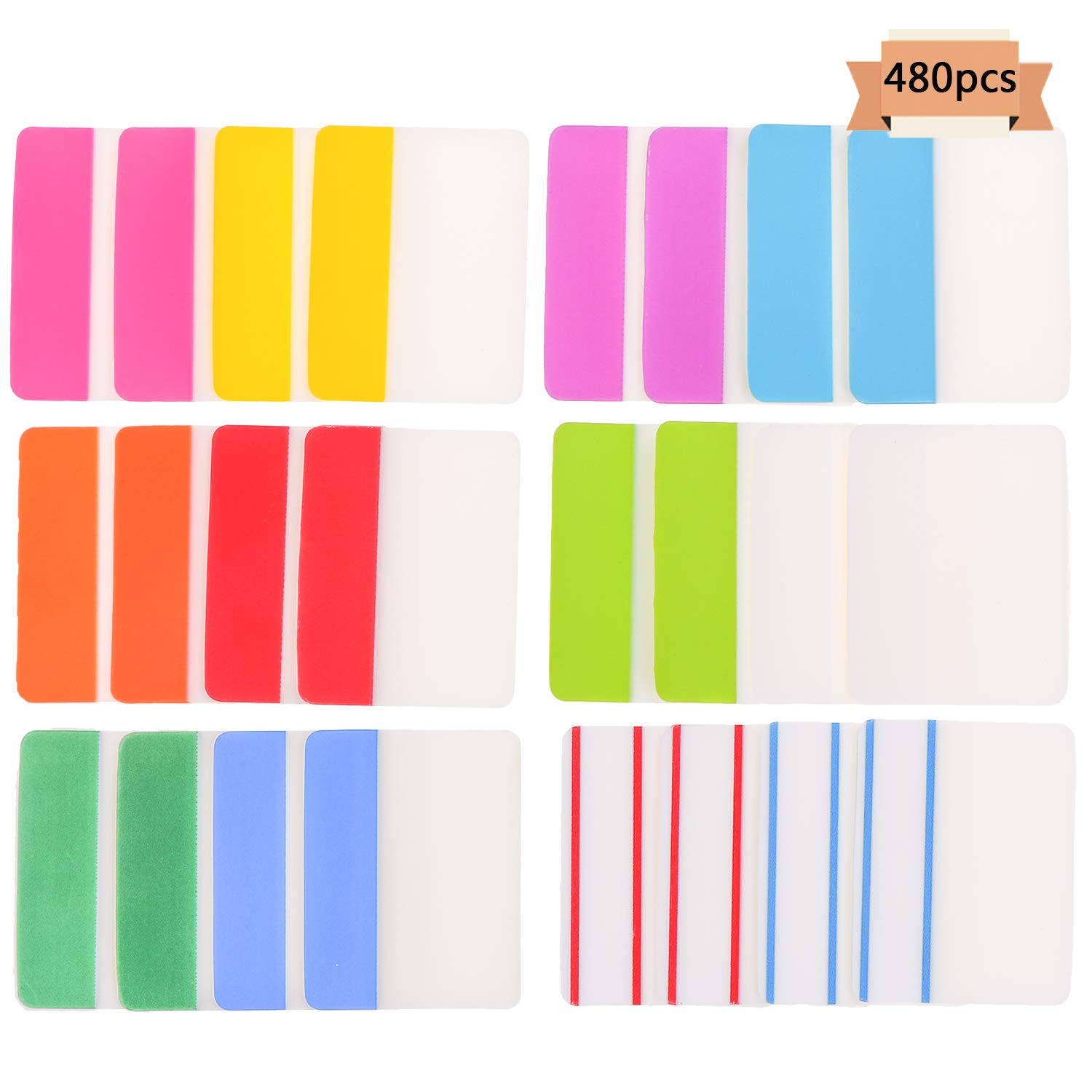 Xgood Tabs 2 inch Index Tabs Assorted Colors Tabs Sticky Page Markers Flag Dispenser 12 Colors 480 Pieces for Notes,Books,File Folders