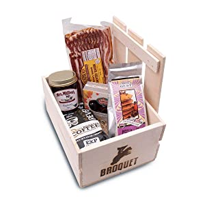 Manly Breakfast Food Essentials Gift Crate - Great Gifts For Men - Manly Birthday Breakfast in Bed. Anniversary - Christmas - Birthday - Fathers Day - Boyfriend - Valentines Foodie. Wooden Gift Crate