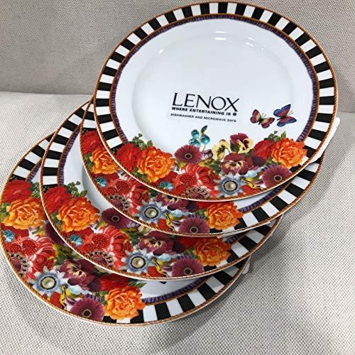 (4) Melli Mello by Lenox Eliza Stripe Accent Salad Plates NEW~