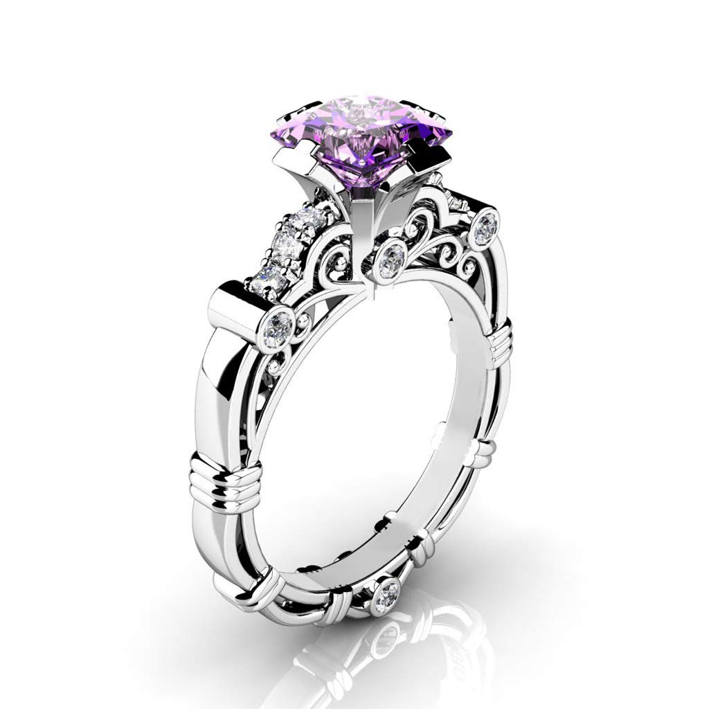 Commitment Ring Copper Plated Silver Diamonds Hollow Rolling Pattern Eternal Ring 10 Purple MGZDH Ms No