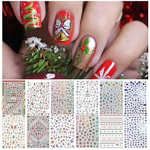 1000+ Patterns Nail Art Stickers for Women Kids, Kalolary 3D Design Self-adhesive Stickers Decals DIY Nail Art Tips Stencil for Valentine's Day Gift Nail Decorations (12 Sheets, Large Size) (Christmas Art For Kids Nail)