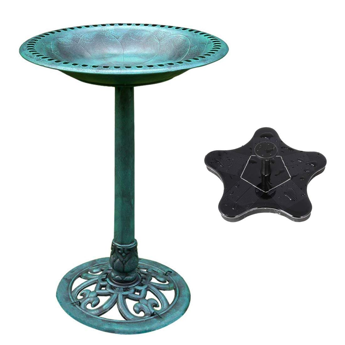 VIVOHOME Polyresin Antique Outdoor Green Garden Bird Bath and Solar Powered Starfish Pond Fountain Combo Set