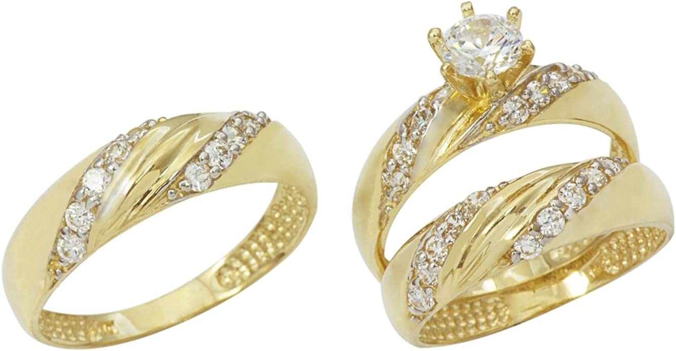 Amazon Com 14k Yellow Gold His And Hers Cubic Zirconia Cz