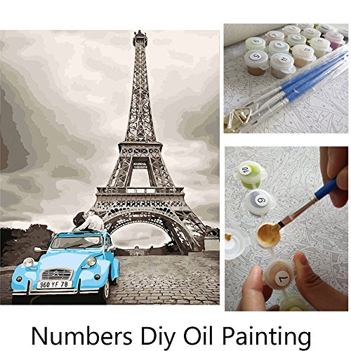 Aksuo Paint by Numbers Kits Diy Canvas Oil Painting for Kids, Students, Adults Beginner - Blue car kiss under the Eiffel Tower in Paris 16 x 20 inch with Brushes and Acrylic Pigment(Without Framed)