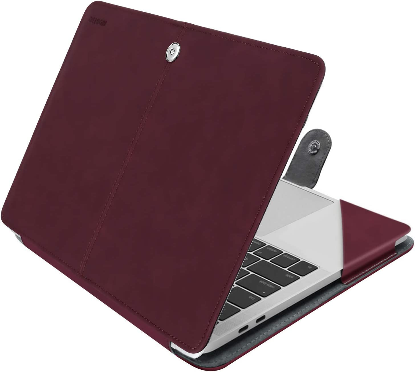 MOSISO MacBook Air 13 inch Case, Premium PU Leather Case Book Folio Protective Stand Cover Sleeve Compatible with MacBook Air 13 inch A1466 / A1369 (Older Version Release 2010-2017), Claret Red