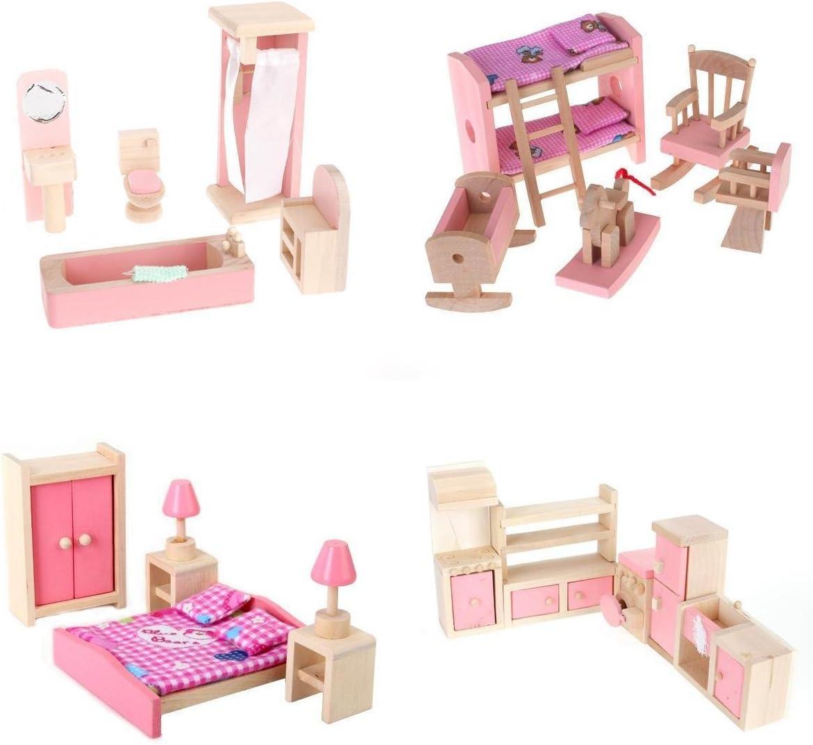 Plastic Kitchen Cabinet Miniature DollHouse Furniture Room Item Set Kids Toy