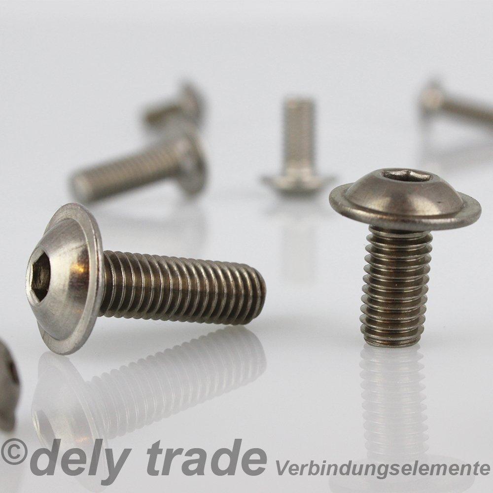 dely trade/® Assortiment de 25/vis /à t/ête bomb/ée /À six pans creux et avec bride ISO 7380 en acier inoxydable A2 M6/x 50//50/