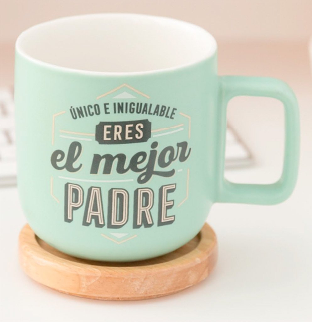 Mr. Wonderful WOA08864ES Taza Único e inigualable, Eres el Mejor Padre (Espanol), Cerámica, Multicolor, 8x7.3x4 cm
