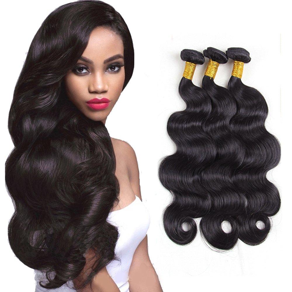 Brazilian Body Wave Virgin Hair 3 Bundles with Closure Unprocessed 100% Human Hair Bundles with Free Part Lace Closure (14' 16' 18' +12' Closure) newfeibin