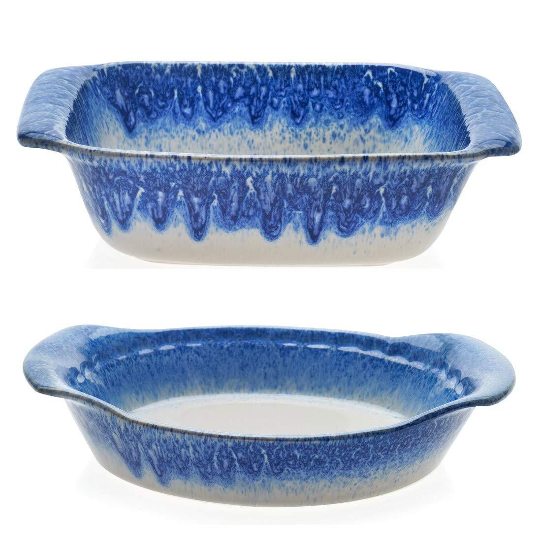 Libbey Artisan Glazed Ceramic Stoneware Square Bake Dish Bundled with Pie Plate Baker Dish, Blue and Cream