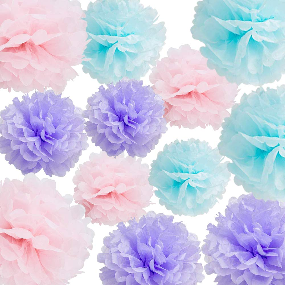 Hanging Tissue Paper Pom Pom 12pcs Coral Pink Cream 10inch 8inch Paper Flowers Rose Haning Decoration Balls Birthday Baby Shower Wedding Decorations Party Supplies