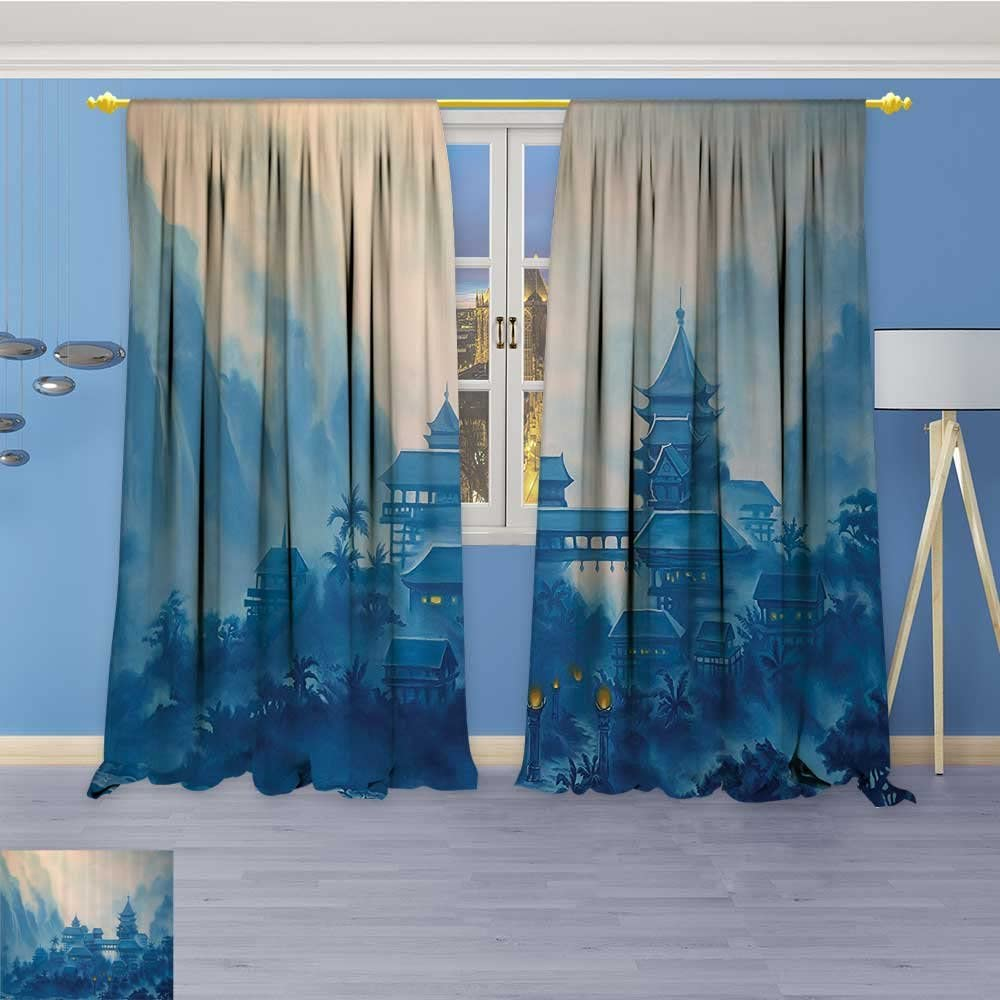 Linen Curtains Echinese Temple Paint Mist With Lanterns Night Artsy Oriental Religious Print Window Curtain Drapes Set For Living Room 84w X 96l Inch Amazon Co Uk Kitchen Home
