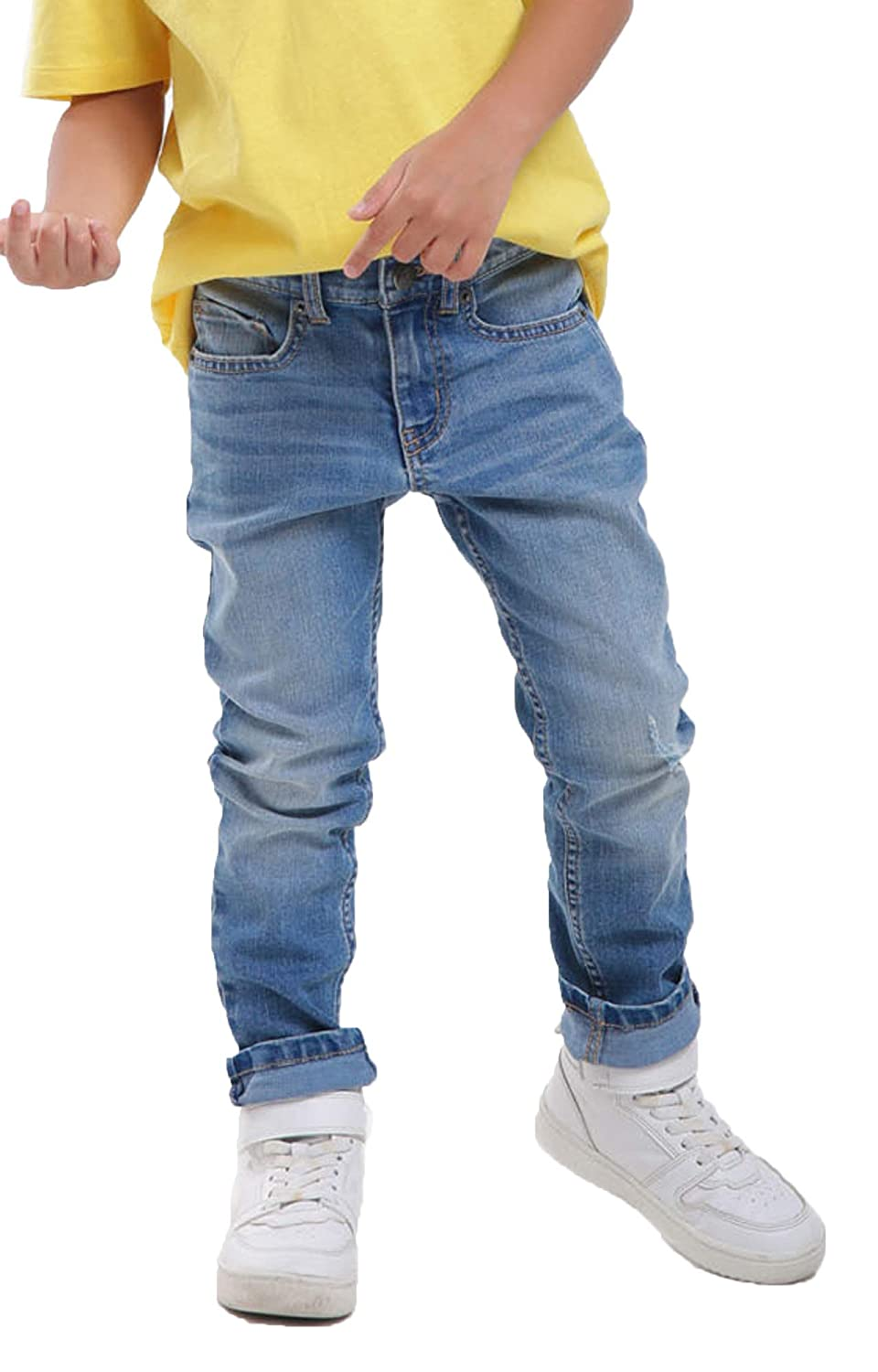 M.D.K Boys Classic Solid Comfort Fit Kids Modern Skinny Denim Pants Jeans