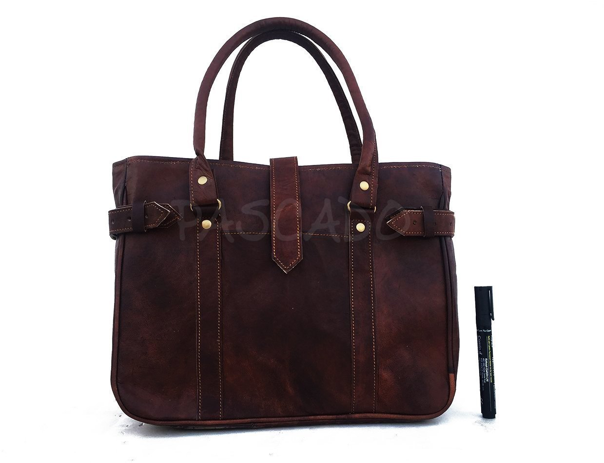 Handmade Vintage genuine small leather tote top handle shoulder travel handbag 13 inch
