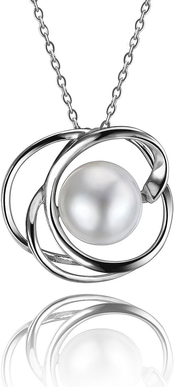CS-DB Pendants Pearl Flower Shape Wedding Silver Necklaces