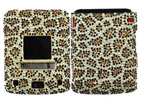 Leopard Gold Cheetah Bling Rhinestone Diamond Crystal Faceplate Hard Skin Case Cover for LG Lotus LX600