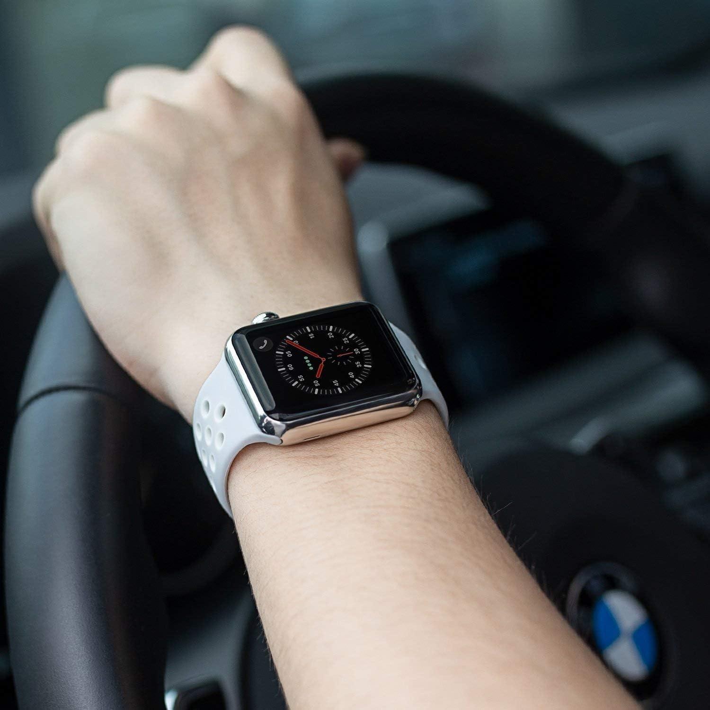 METEQI バンド 対応 Apple Watch, シリカゲルバンド スポーツシリコンストラップリストバンド交換バンド柔らか運動型 M/L Series 6/5/4/3/2/1/SE (42MM/44MM, グレー/ホワイト)