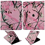 "Camo Pink Mozzy (Am) For Samsung Galaxy Tab 4 10.1"" 10 inch Tablet Syn Leather Case Cover 360 Rotating Folding Folio Stand Cover Case"