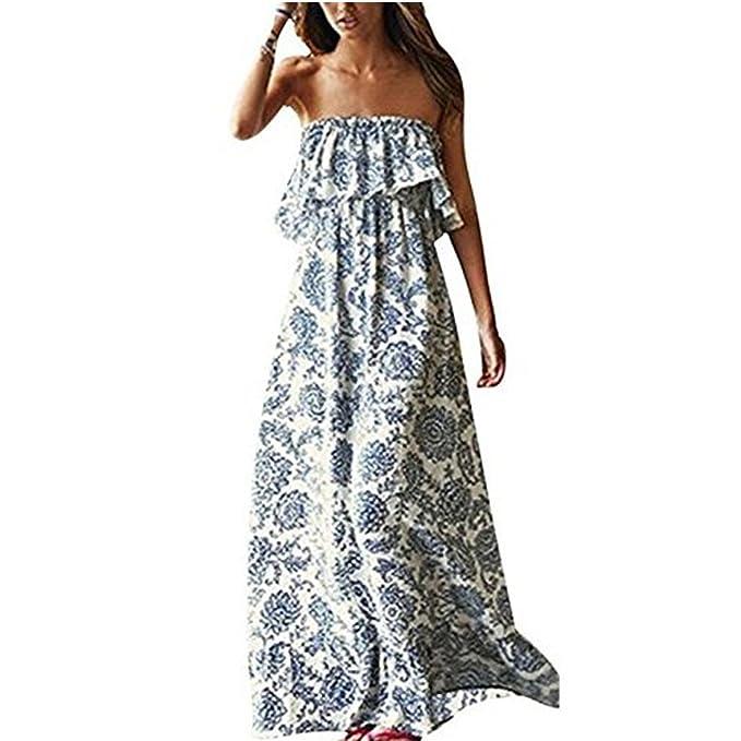 7b92a5f3ce9b Vestiti Lunghi Donna Eleganti Estivi Abito Senza Maniche da Spiaggia Mare  Sera Partito Festa Banchetto-