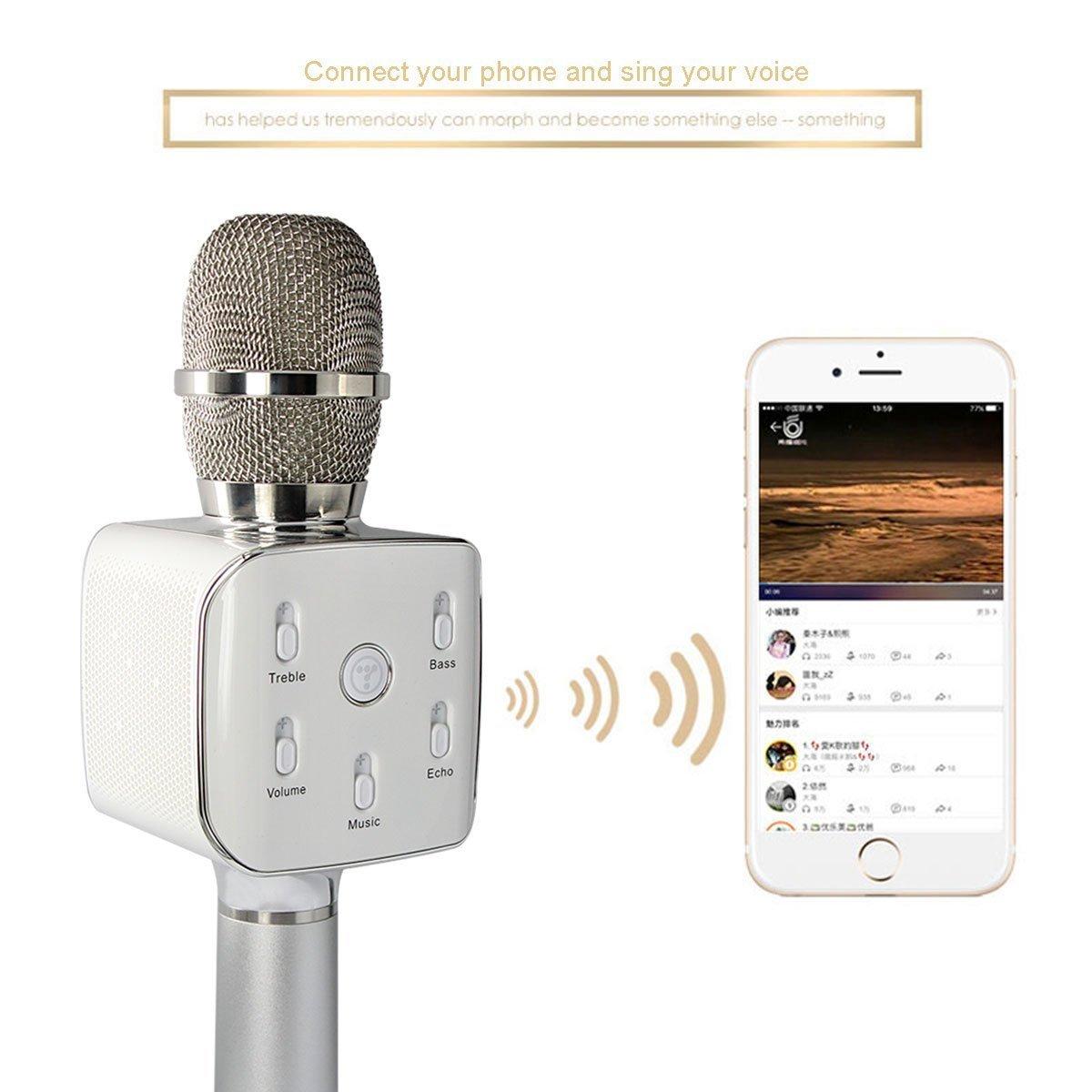 Genuine Tuxun Teana 2 Wireless Bluetooth Speaker Ecko Headphone Mic Jack Wiring Diagram Microphone Karaoke Ktv Player Handheld Condenser Large Capacity Battery Silver Home Audio