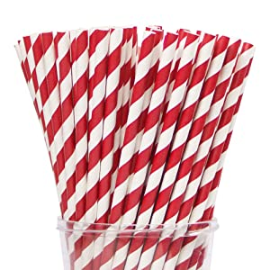"""Webake 144 Pack Biodegradable Paper Straws Stripes 7.75"""" for Birthdays, Holiday, Weddings, Baby Showers, Celebrations, Parties, Valentine's Day Cake Pops (Red)"""